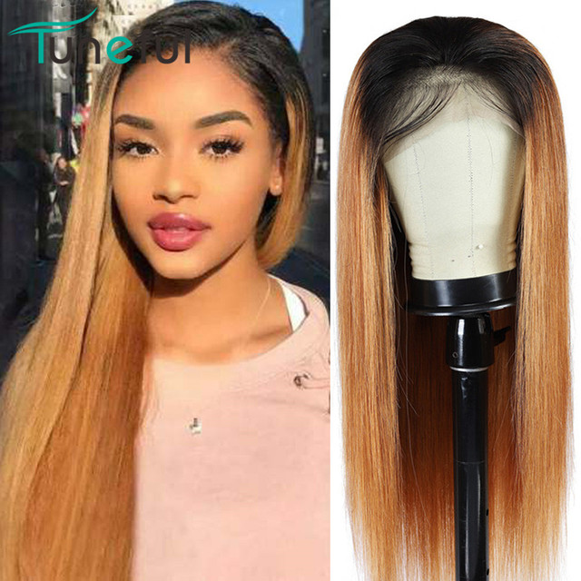 1B/27# Colored Ombre Human Hair Lace Front Wigs Tuneful Honey Blonde Pre Plucked 13x4 150% Peruvian Remy Hair Lace Frontal Wigs