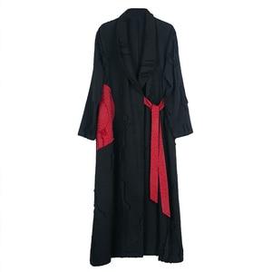 Image 5 - Johnature automne/hiver 2019 nouveau manteau de Trench Vintage femmes col rabattu ample longue Patchwork réglable taille manteau