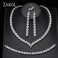 Zakol na moda folha branca conjunto de jóias casamento marquise corte zircão cúbico colar brincos pulseira conjunto completo para mulher fssp253