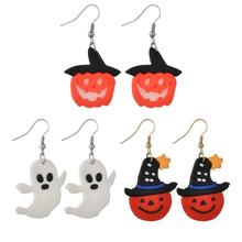 High Quality 2019 Hot Punk Acrylic Pumpkin Drop Earring Funny face earring for Women Girls Halloween nice gifts Allergy Free