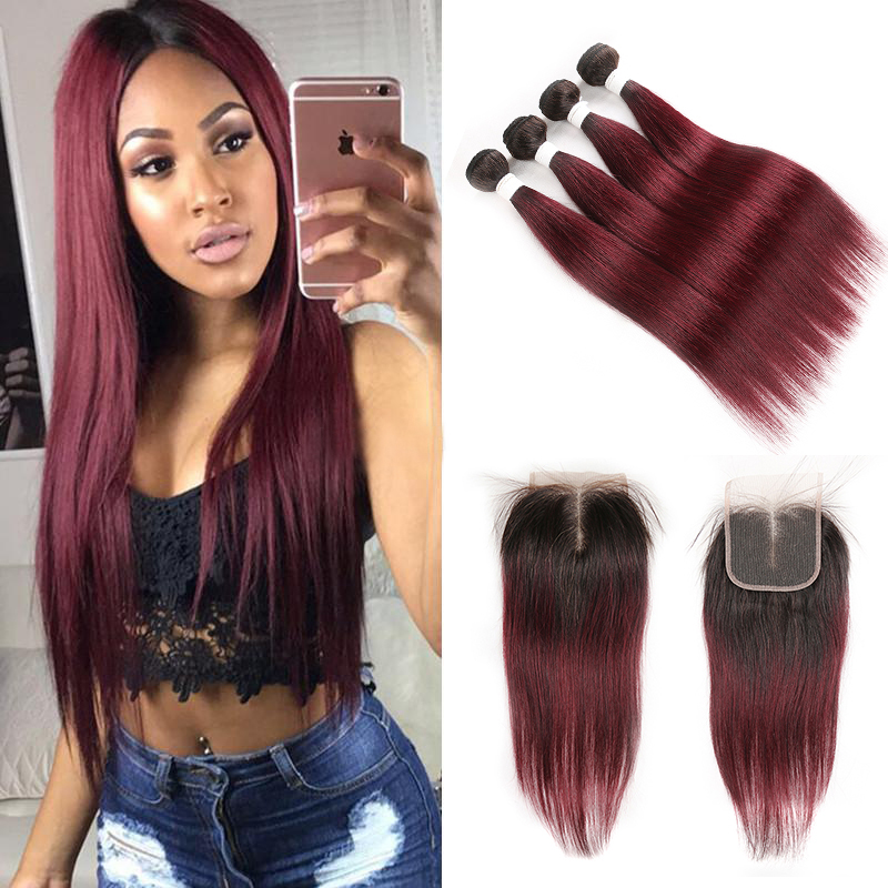 Brazilian Straight Human Hair Bundles With Closure 4x4 SOKU 3 PCS Ombre Human Hair Bundles With Closure Non-Remy Hair Extension