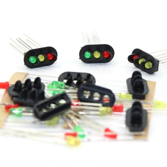 JTD08 10pcs 1:87 Signal Heads With 3mm LEDs Red Yellow Green for railway signal HO or OO Scale NEW 1