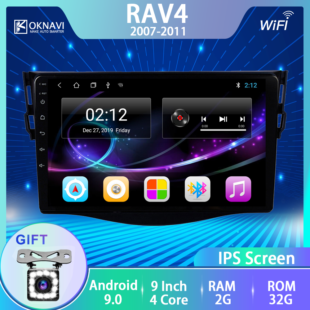 OKNAVI for <font><b>Toyota</b></font> <font><b>RAV4</b></font> 2007 2008 2009 <font><b>2010</b></font> 2011 Android 9.0 Car Radio GPS Navigation Bluetooth Wifi Video Stereo Multimedia Play image