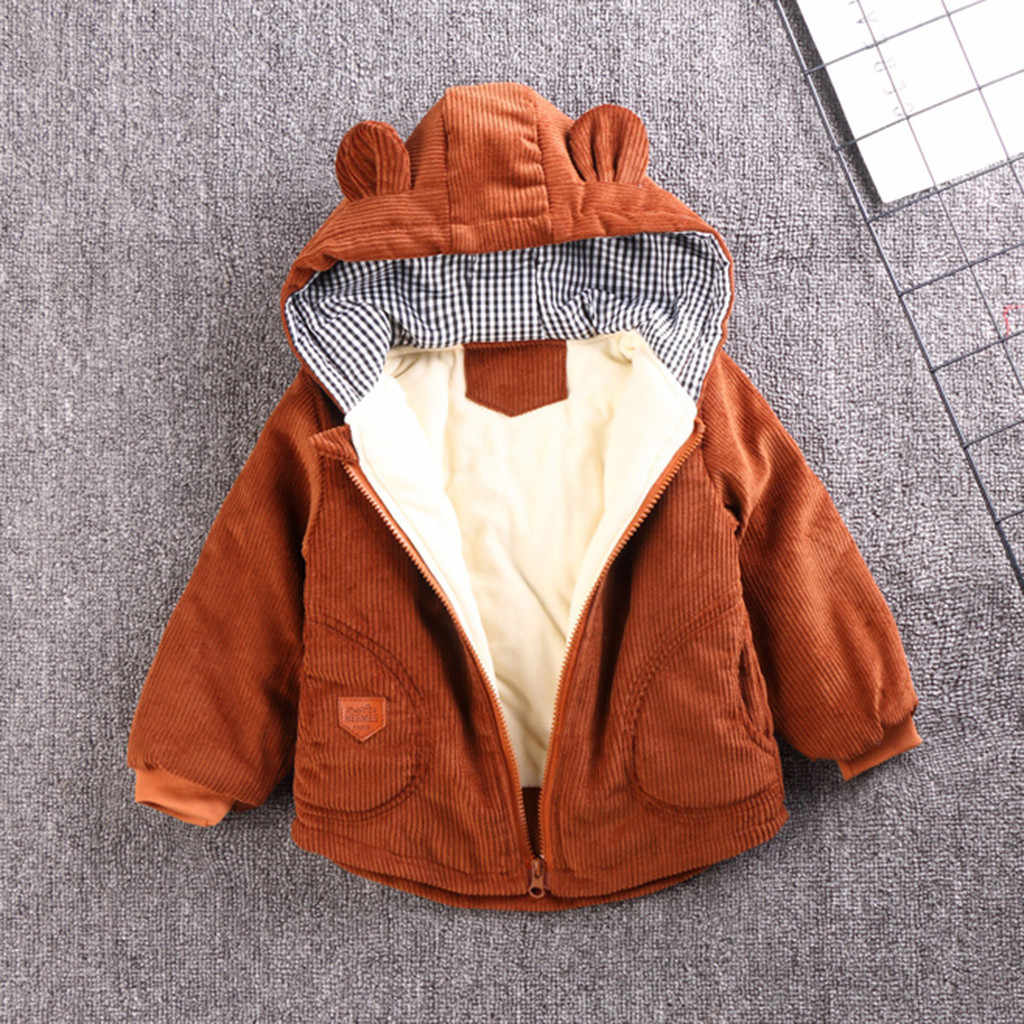 Winter Baby Girls Boys Coats Jacket Cartoon With Ears Hooded Newborn Jacket Outwear Casual Infant Girl Boy Clothes Thick Coats