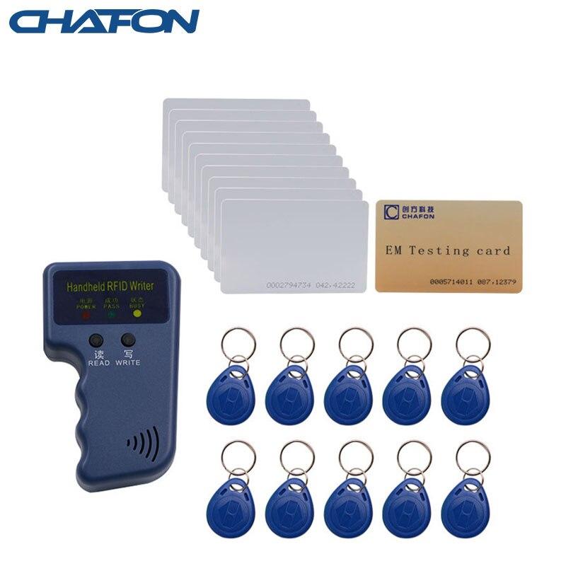 Chafon Handheld 125KHz rfid duplicator copier writer support EM4100 T5557 T5577 EM4305 writable keychains card tag