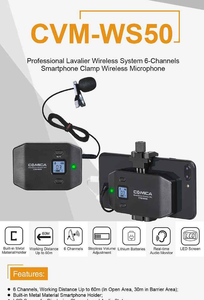 EastVita CVM-WS50H Smartphone Wireless Microphone + Hand-held Transmitter with  TRRS Audio Output Cable Charging Cable r60