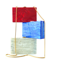 Fashion Acrylic Box Bag Rectangle Concise Clutch Bag Trendy Shoulder Bag Female Blue Red Clutches Ladies Clutch Bags Party Pouch