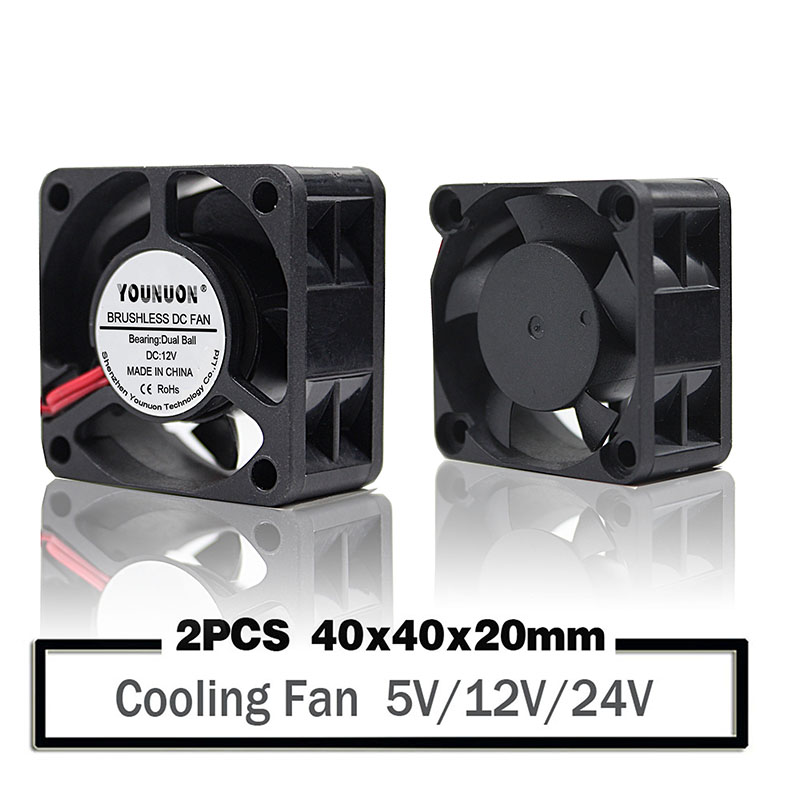2PCS  YOUNUON 40mm 24V 12V 5V 4020 Mini Computer Case Cooling Fan Ball Bearing Sleeve Bearing 2Pin 4cm 40x40x20mm