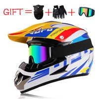 3 regalos Casco de Motocross Cascos profesionales de carreras de Motos Casco ligero todoterreno cara completa ABS Cascos Para Motos