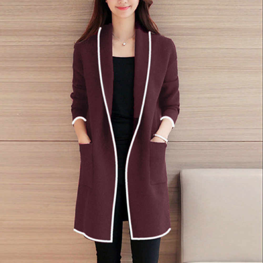 JAYCOSIN long cardigan Women Autumn Winter Loose Wild knit sweater coat Elegant Windbreaker Sweater Coat Cardigan Korean version