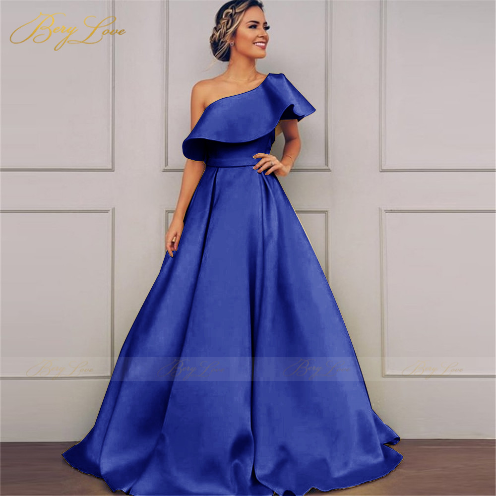 Elegant One Shoulder Evening Dresses Long A Line Ruffles Satin Prom Dresses Woman Party Night  Ruched Zipper Back Robe de soiree