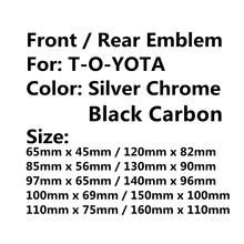Хромированный серебристый/черный карбоновый Автомобильный капот, передняя капот, гриль, Задняя эмблема багажника, логотип, стикер для Toyota, ...