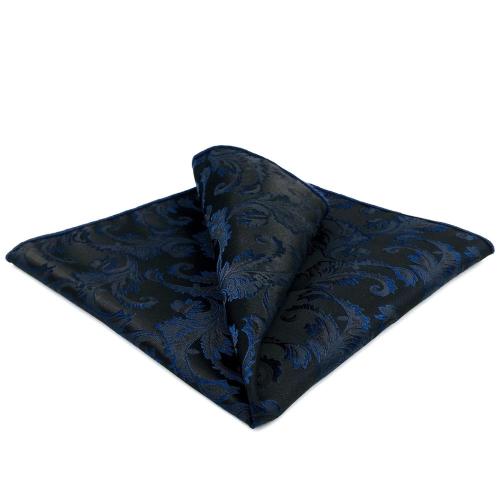 GH14 Navy Blue Geometric Silk Mens Pocket Square Fashion Business Handkerchief Classic Party Hanky