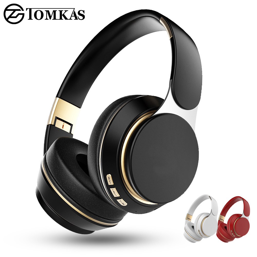 TOMKAS Wireless Headphones Bluetooth Headset Foldable Stereo <font><b>Gaming</b></font> <font><b>Earphones</b></font> <font><b>With</b></font> <font><b>Microphone</b></font> Support TF Card For All Phone image