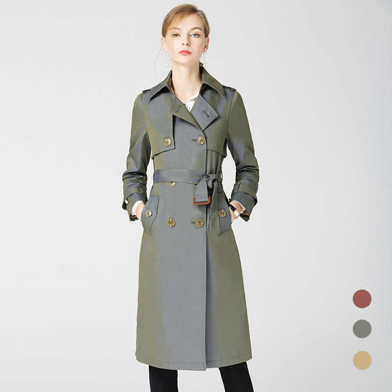 Kadın giyim turn-aşağı yaka Casual uzun kruvaze rüzgarlık ceket kadınlar için 2020 bahar yeni moda giyim üst