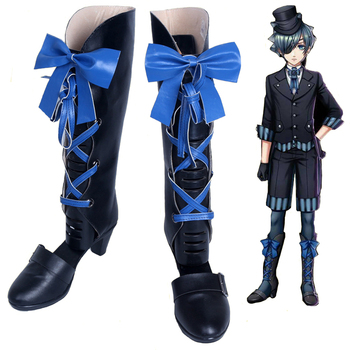 New Black Butler Kuroshitsuji Ciel Phantomhive Cosplay Boots w/Blue Bowknot Anime Cosplay Shoes for Women/Men Size 35-43 1