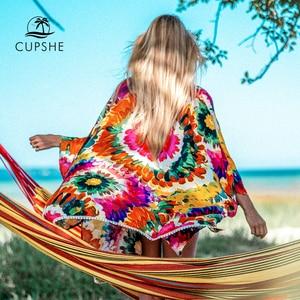 Image 5 - CUPSHE White Crochet Sleeveless Tunic Cover Up Sexy Cut Out V neck Beach Dress Women 2020 Summer Bathing Suit Beachwear