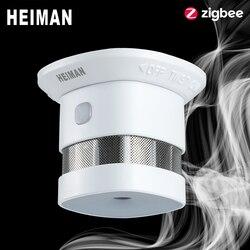Heiman zigbee 3.0 detector de fumaça alarme incêndio sistema casa inteligente 2.4 ghz alta sensibilidade segurança prevenção sensor frete grátis