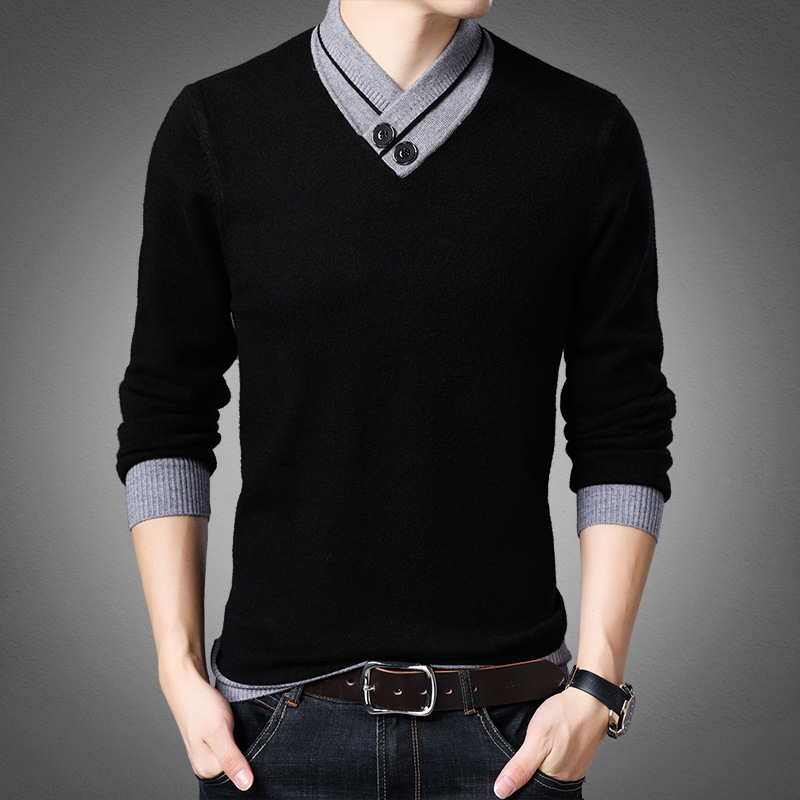 2019 Brand Clothing Men High Quality Cashmere V-neck Sweater/Male Slim Fashion Leisure Set Head Knitting Sweater Knitwear S-4XL