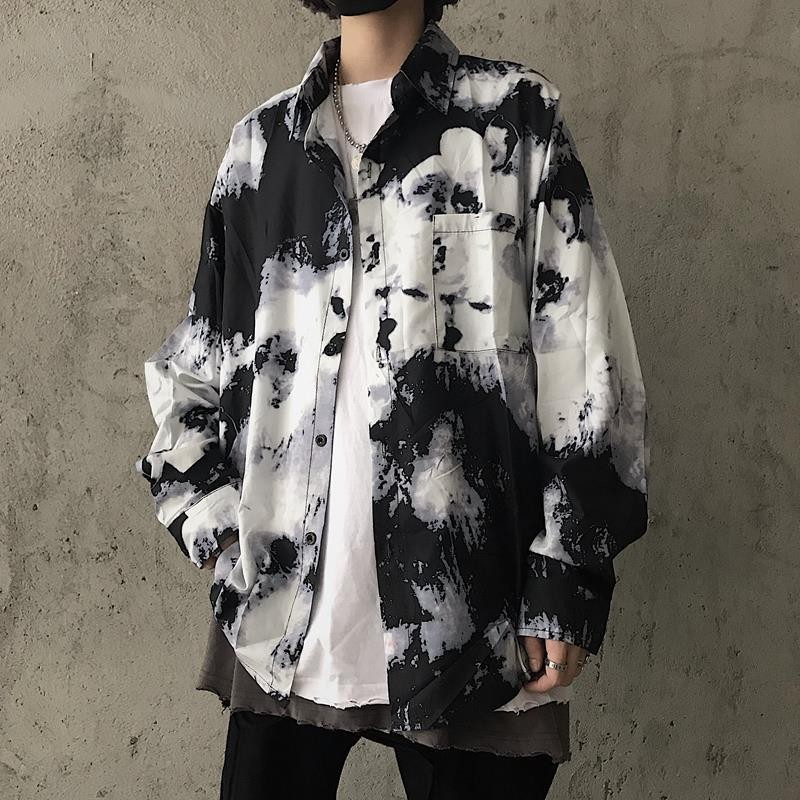 NiceMix Men's Clothing Spring Autumn Korea Streetwear Style Tie Dyeing Long Sleeve Womens Tops And Blouses Couple Harajuku Shir