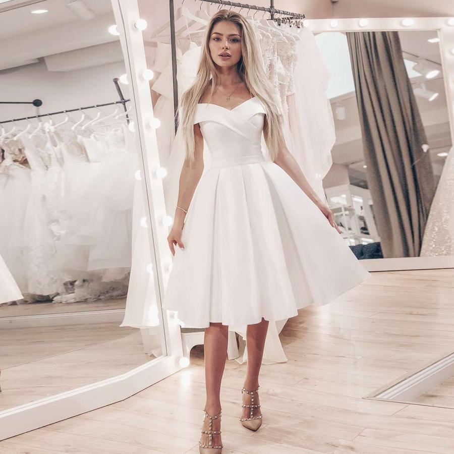 Eightale Short Dress Cheap Satin Bridal Gowns Simple Off The Shoulder A-line Dresses Robe De Mariage Plus Size