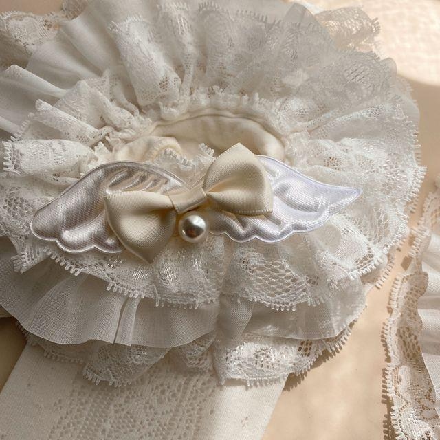 Princesse douce lolita bas Original ange Secret jardin bas ange noeud clou perle dentelle et bas femmes WGR131