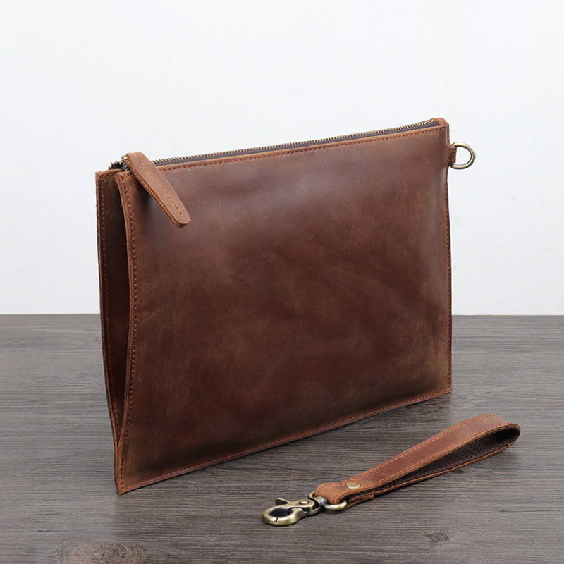 PNDME crazy horse en cuir pour hommes pochette simple vintage en cuir véritable sac de téléphone designer portefeuille sac de rangement sac à main de luxe - 3