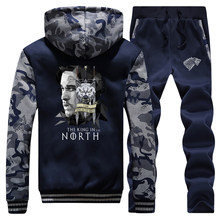 Juego de tronos Camo chaquetas Set The King In The North Sweatsuit hombre Jon Snow Sets casa de moda Pantalones Stark sudaderas de lana(China)