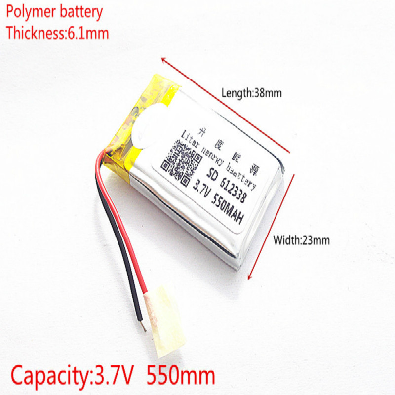 3.7V lithium polymer battery 062338 <font><b>612338</b></font> 550mAh MP3 MP4 GPS Bluetooth 6.1*23*38mm lithium battery small stereo bluetooth GPS image
