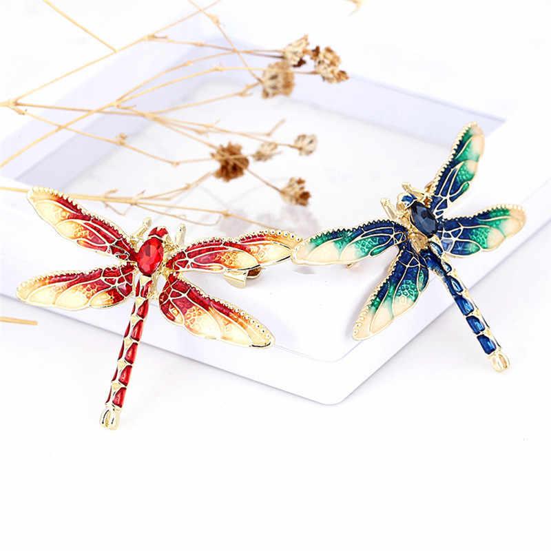 1 Buah Hijau Merah Hitam Enamel Dragonfly Serangga Bros untuk Wanita dan Pria Paduan Logam Perjamuan Pernikahan Pin Hadiah