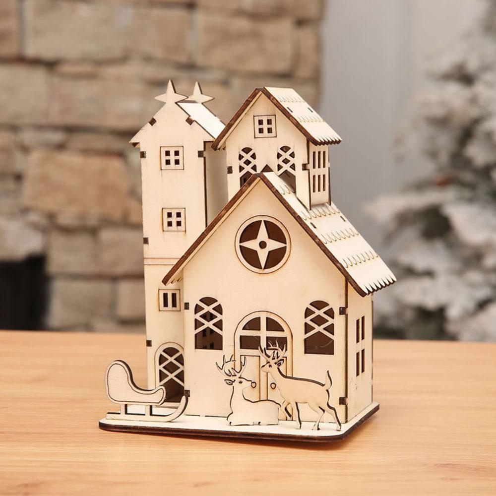 Ночной светильник, деревянный дом, светодиодный, Рождественский, церковный, милый, мини, креативный, деревянный, Мульти Узор, на День святого Валентина, год, рождественские подарки, древесный Декор