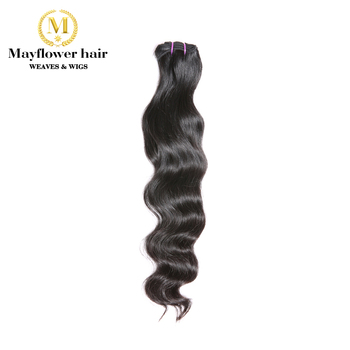 Mayflower Original Raw Virgin Indian temple hair Natural Wavy Not by steam process Silky Luster Soft Bouncy wavy 12-28 image