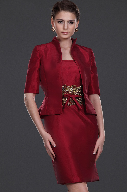Red Mother Of The Bride Dresses Sheath Strapless Satin Sequins Plus Size Short Elegant Groom Mother Dresses Wedding