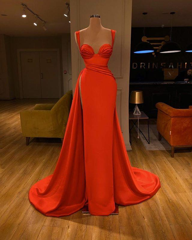 New Coral Cheap Prom Dresses 2020 Sexy Spaghetti Straps Split Side Evening Gowns Satin Long Beach bridesmaid dresses