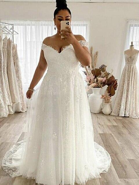 Wedding Dress Plus Size A-Line Off The Shoulder Lace Applique Tulle Backless Robe De Mariée Orienta Sweep Train Gown Custom Made 6