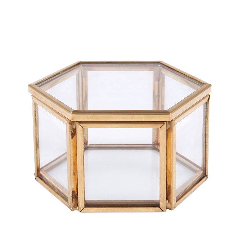 LUDA Geometric Clear Glass Jewelry Box Jewelry Organizer Holder Tabletop Succulent Plants Container Home Jewelry Storage