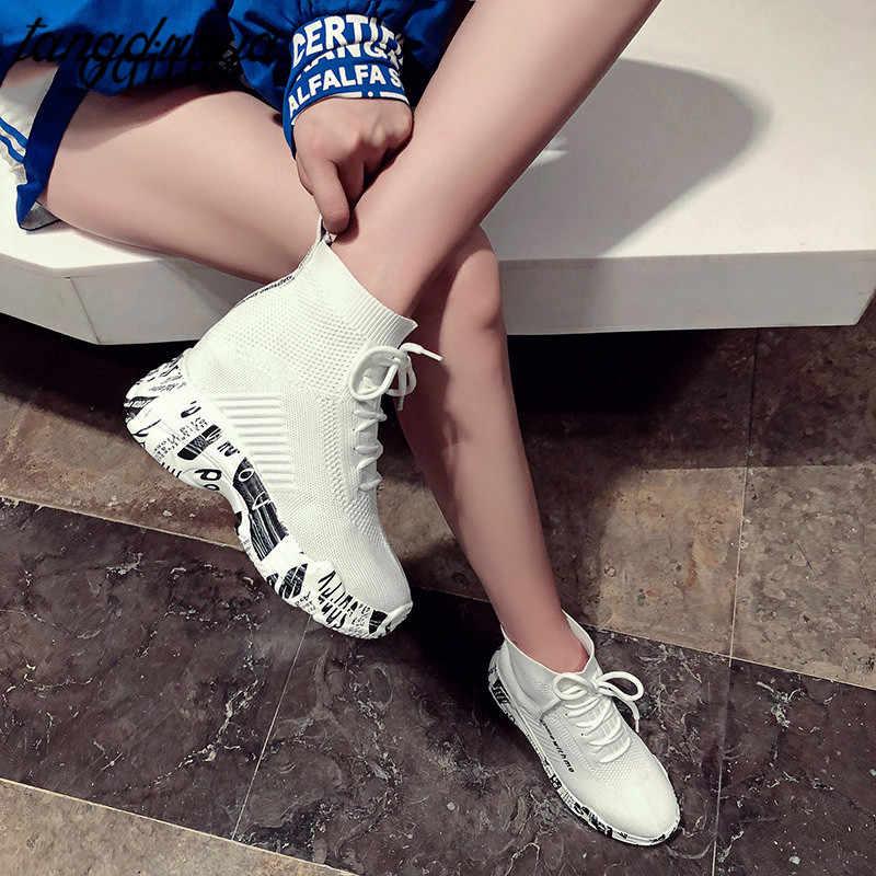 Сникеры с рисунком в виде граффити женские носки Женская обувь для бега для женщин на массивной платформе теннисные кроссовки спортивная женская обувь 2019