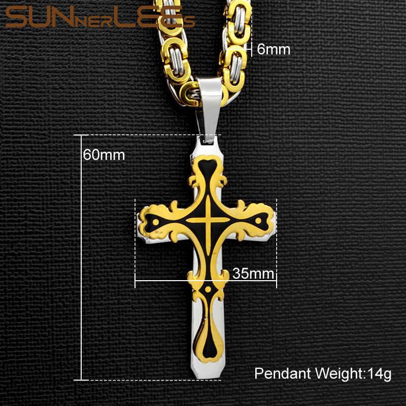 SUNNERLEES stal nierdzewna 316L jezus chrystus krzyż naszyjnik bizantyjski Link Chain srebrny złoty czarny mężczyźni chłopcy prezent SP244