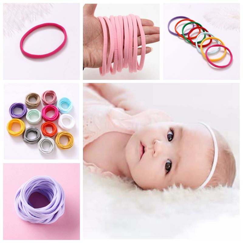 10pcs/lot Super Soft Thin Nylon Headband Baby Accessories Seamless Headbands For Girls Elastic Hairband Baby Hair Accessories