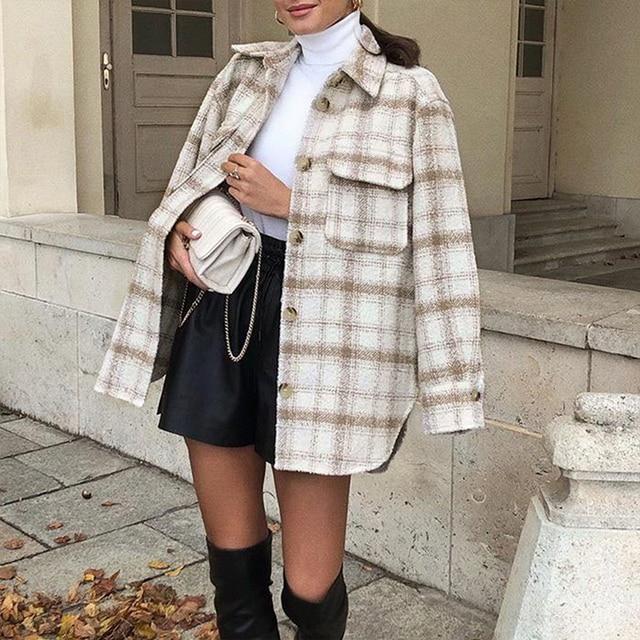 ZXQJ Vintage Women Soft Tweed Shirts 2021 Spring-Autumn Fashion Ladies Elegant Loose Blouses Streetwear Girls Oversize Outwear 1