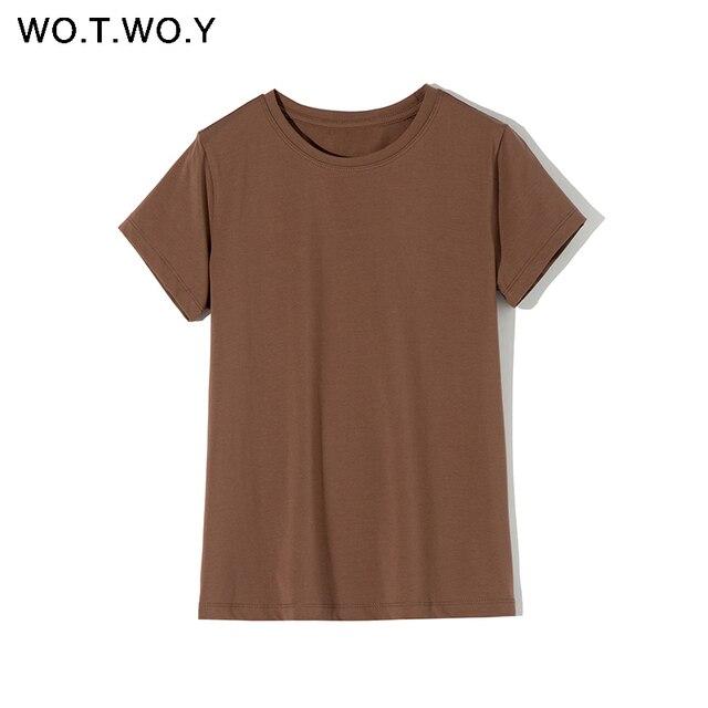 Простая женская повседневная футболка с коротким рукавом 4
