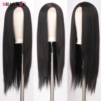 SHANGKE Long Straight Wig Synthetic Wigs Natural Middle Part Lace Wig Natural Looking Wig for Women African American Wigs цена 2017