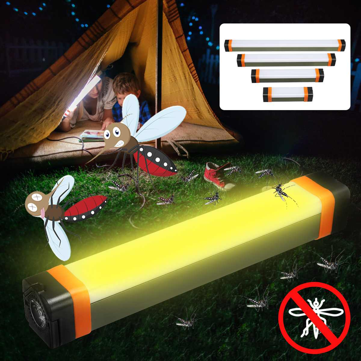 2W/3.5W/5.5W/7.5W USB Rechargeable Camping Light Mosquito Repellent LED Tent Light Mosquito Bulb Bivvy Lamp Torch 3 Modes