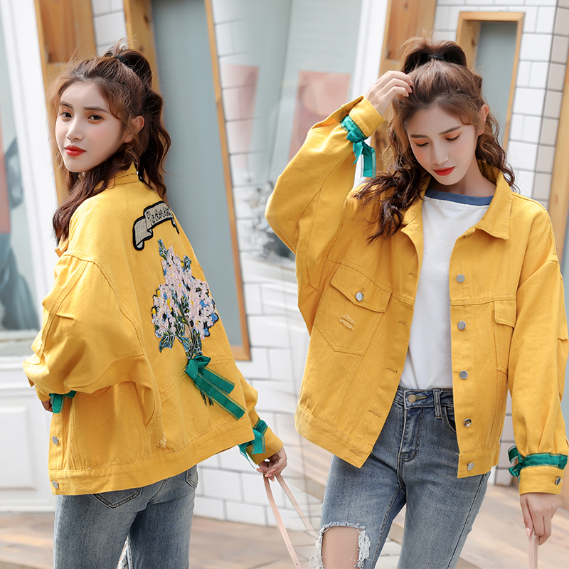 Kids Girls Denim Jacket Cartoon Sequin Embroidery Button Up Distressed Jean Coat Outerwear Top
