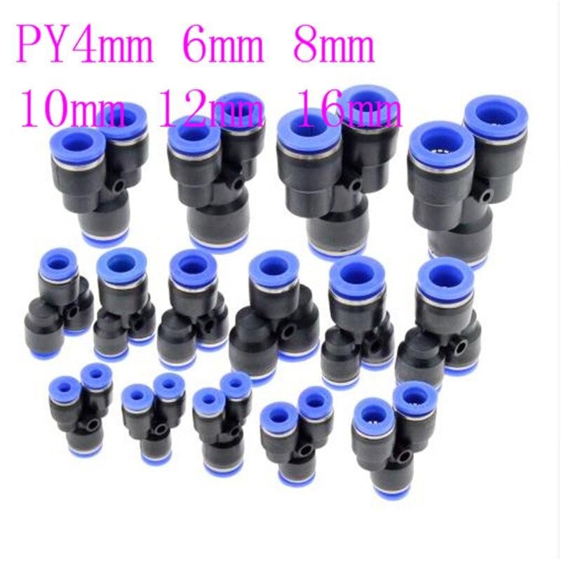 Alta qualidade universal 3 vias porta forma py ar pneumático 12mm 8mm 10mm 6mm 4mm od tubo de mangueira empurrar no gás plástico encaixe de tubulação