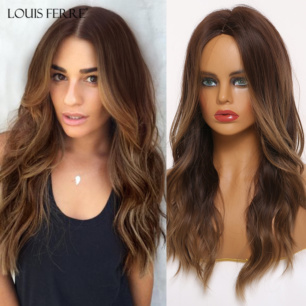 LOUIS FERRE Long Wavy Middle Part Synthetic Wigs Ombre Black Brown Honey Highlight Wigs For Black Woman Cosplay Heat Resistant