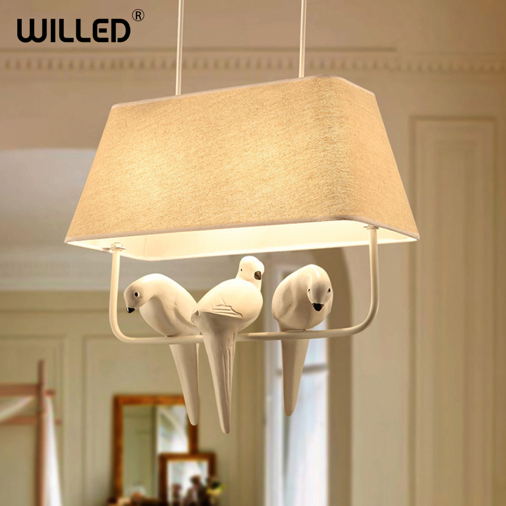 cloth pendant lamp modern creative Bird fixture Home hanging lights for bedroom cafe hotel restaurant living room decorations