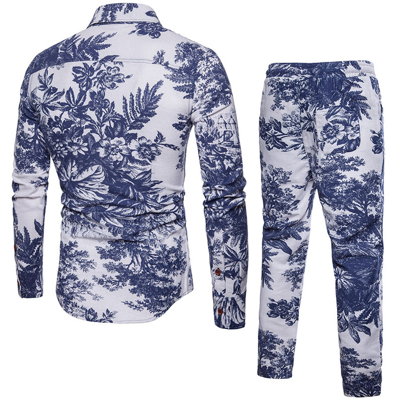 Fashion Folk Floral Printed Tracksuit Men Casual Two Piece Suit Shirts Drawstring Sweatpants Plus Size M-5XL Ensemble Homme Sets