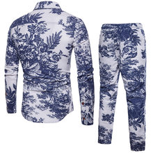 Mode Folk Floral Gedruckt Trainingsanzug Männer Casual Zwei Stück Anzug Shirts Kordelzug Jogginghose Plus Größe M-5XL Ensemble Homme Sets(China)