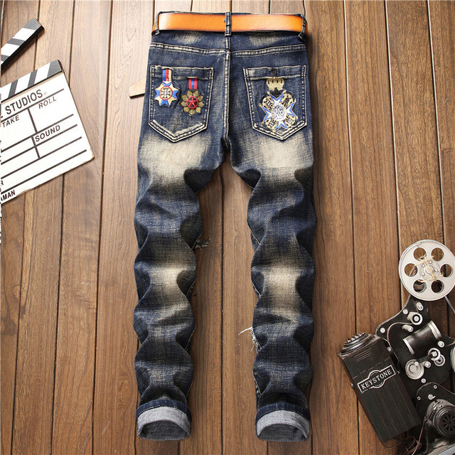 2019 AUTUMN Winter Men's Patchwork Ripped Embroidered Stretch Jeans Trendy Holes Straight Denim Trouers 37